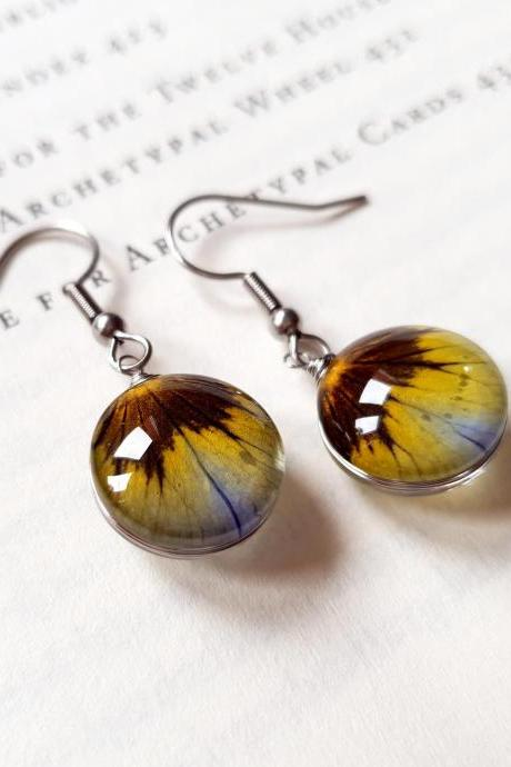 Pressed Pansies Earrings, Stainless Steel Earrings, Resin Earrings, Pressed Petals Earrings, Resin Jewelry, Accessories